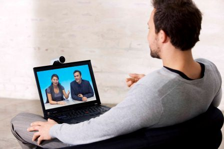 Video conferencing using a laptop whilst out of the office